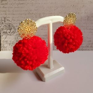 Red Pom Pom Earrings  Boho
